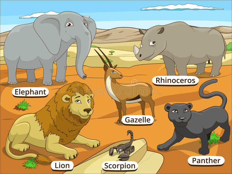 与名字动画片的非洲大草原动物 皇族释放例证