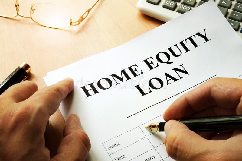 与名字房屋净值贷款的文件 免版税库存照片