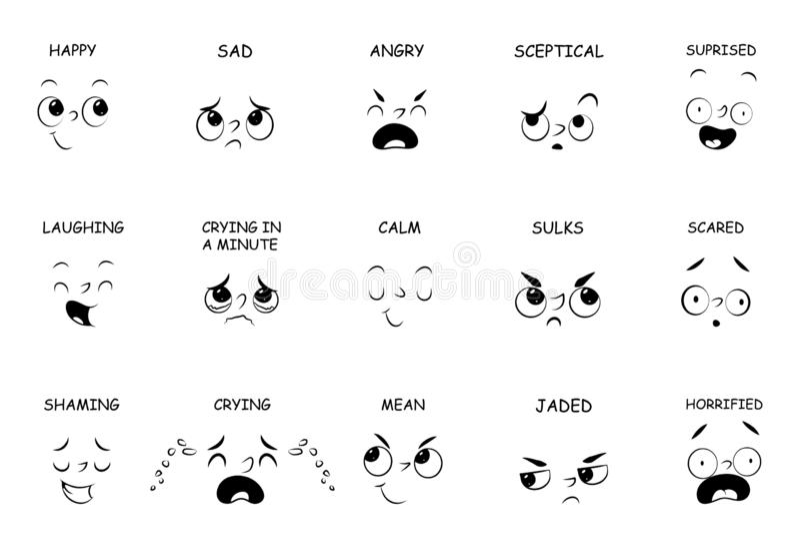 与名字的面孔表示对于漫画,在白色隔绝的卡通人物 向量例证