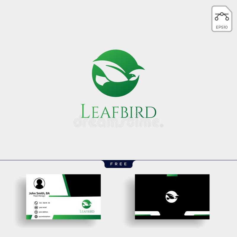 与名片的叶子鸟消极商标模板 皇族释放例证