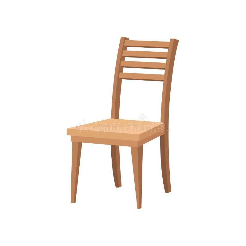 与后面架靠背和软的米黄位子的布朗木椅子 餐厅的家具 平的传染媒介设计 库存例证