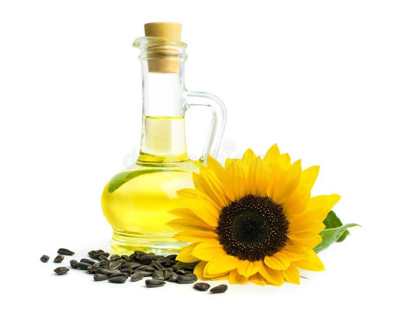 与向日葵种子的油 免版税库存图片