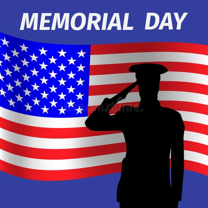 与向致敬的焊剂的阵亡将士纪念日设计 库存图片