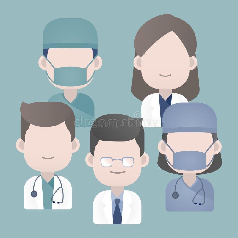 与听诊器的医生小组,愉快的医疗队,医护人员象 库存例证