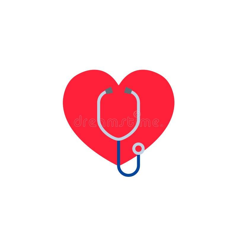 与听诊器的心脏 诊所的商标,制药公司急救医生, 在空白背景查出的向量 库存例证