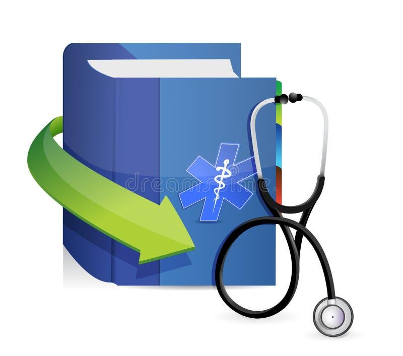 与听诊器的医学书 库存例证
