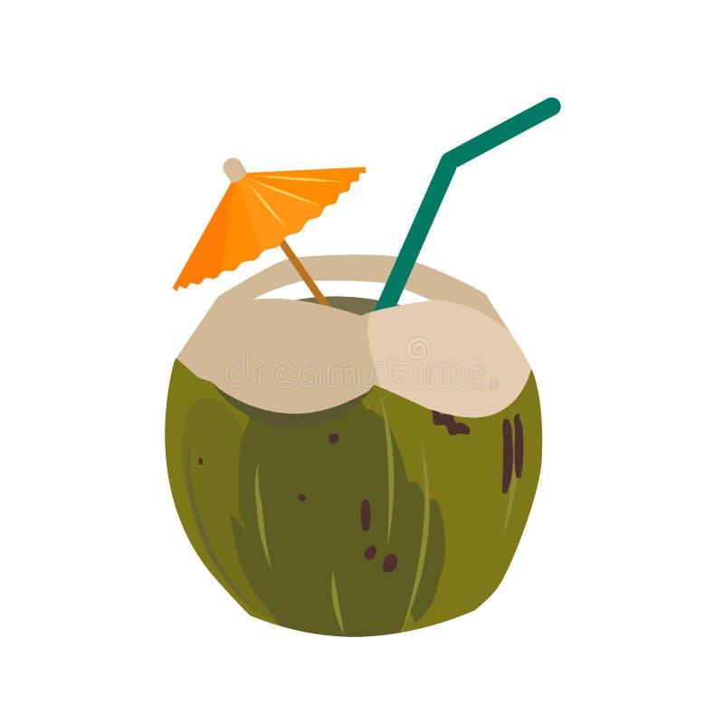 与吸管和纸伞的绿色椰子水饮料 库存例证