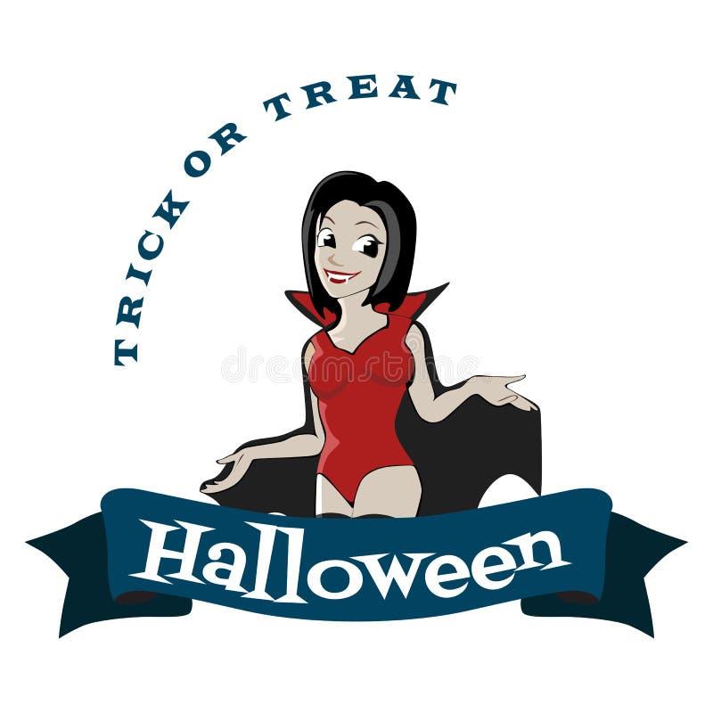 与吸血鬼女孩,恐怖邀请的乐趣背景的万圣夜哥特式党在cosplay的荡妇,性感的德雷库拉妇女与 皇族释放例证