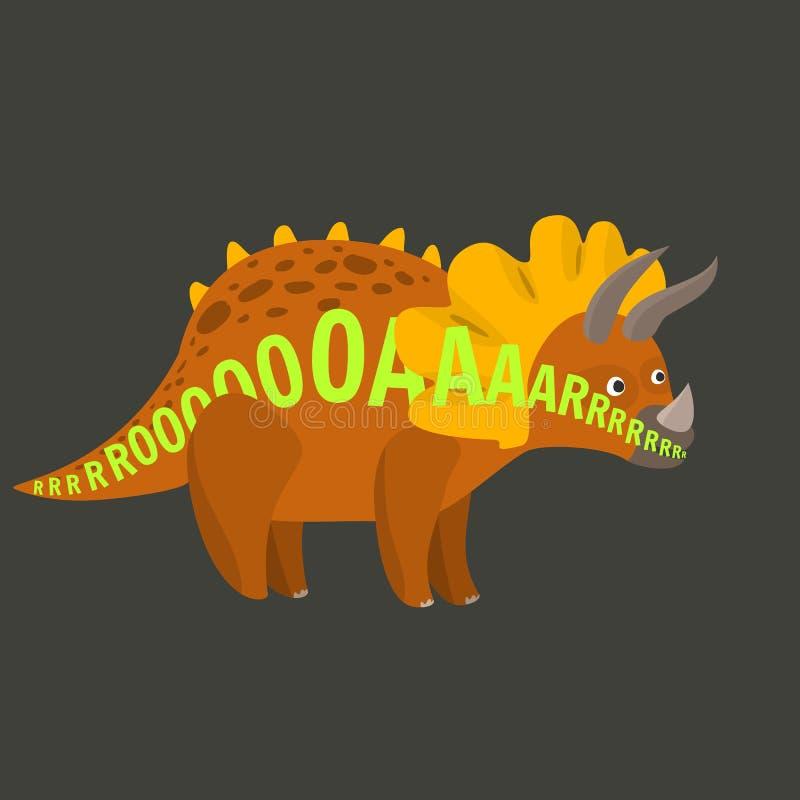 与吼声文本的平的动画片传染媒介三角恐龙恐龙沿身体 向量例证