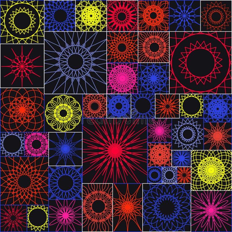 与呼吸运动记录器的瓦片无缝的样式 在方形的形状的坛场 皇族释放例证