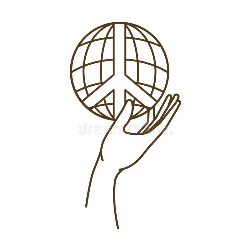 与和平的地球地球和爱标志和手 皇族释放例证