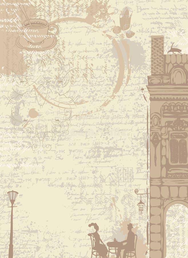 与咖啡下落的背景纹理  库存例证