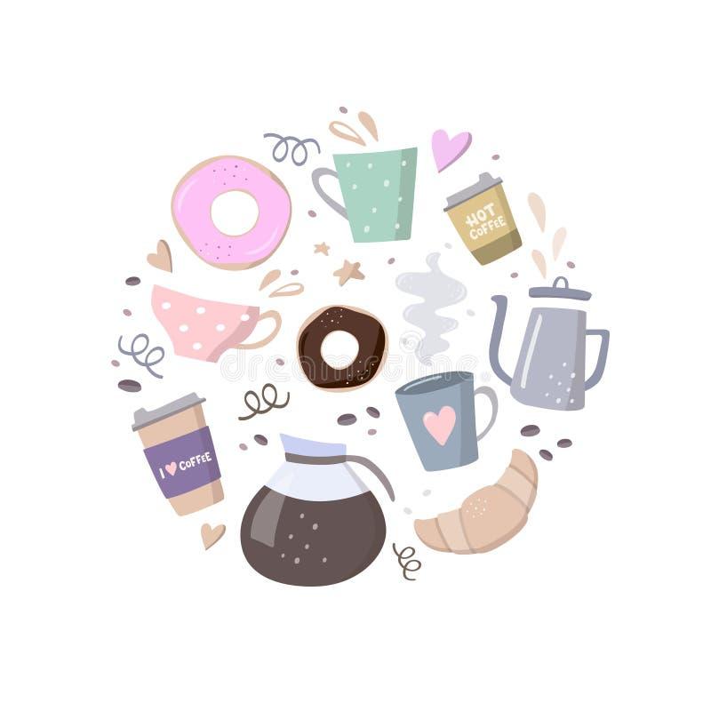 与咖啡例证的圆的构成 咖啡去的,咖啡罐、杯子、新月形面包、曲奇饼和设计元素 库存例证