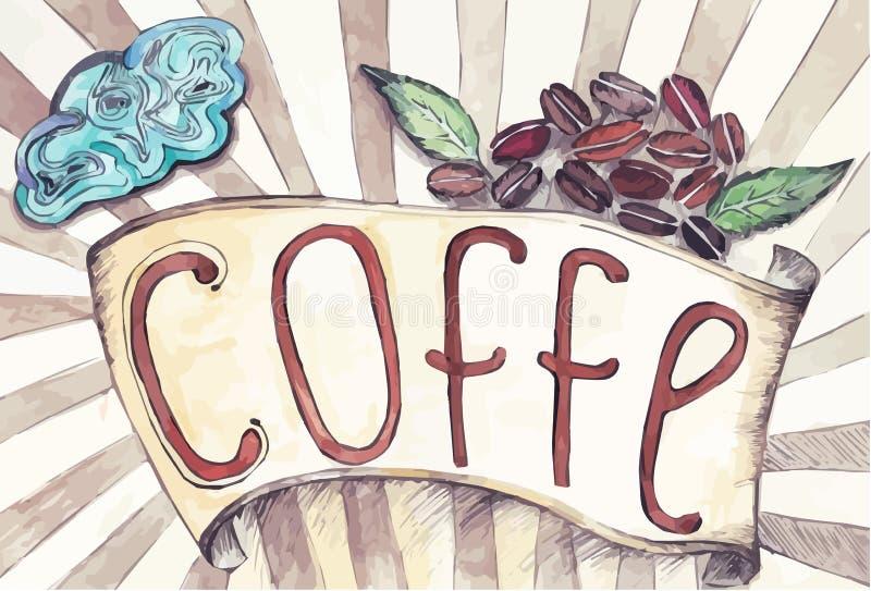 与咖啡和咖啡豆的题字的减速火箭的丝带 向量例证