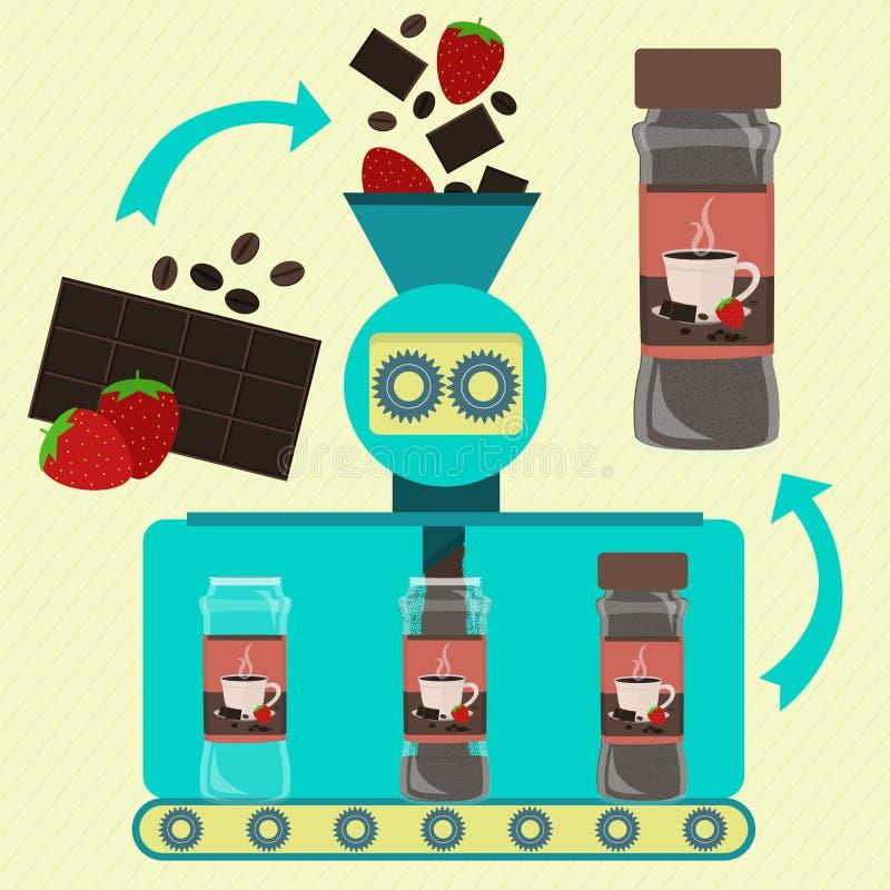 与咖啡和草莓粉末生产的巧克力热饮 皇族释放例证