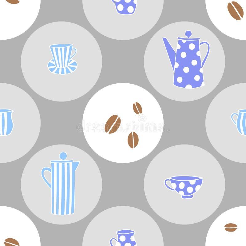 与咖啡壶和杯子的传染媒介无缝的样式 库存例证