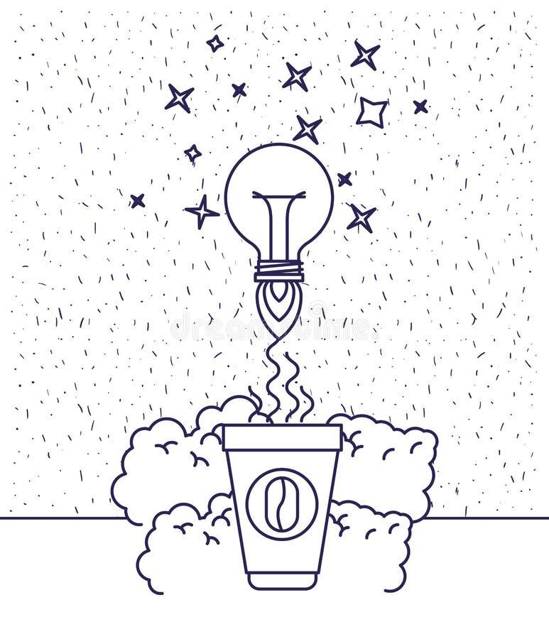 与咖啡杯和电灯泡光飞行蓝色剪影的白色背景  皇族释放例证