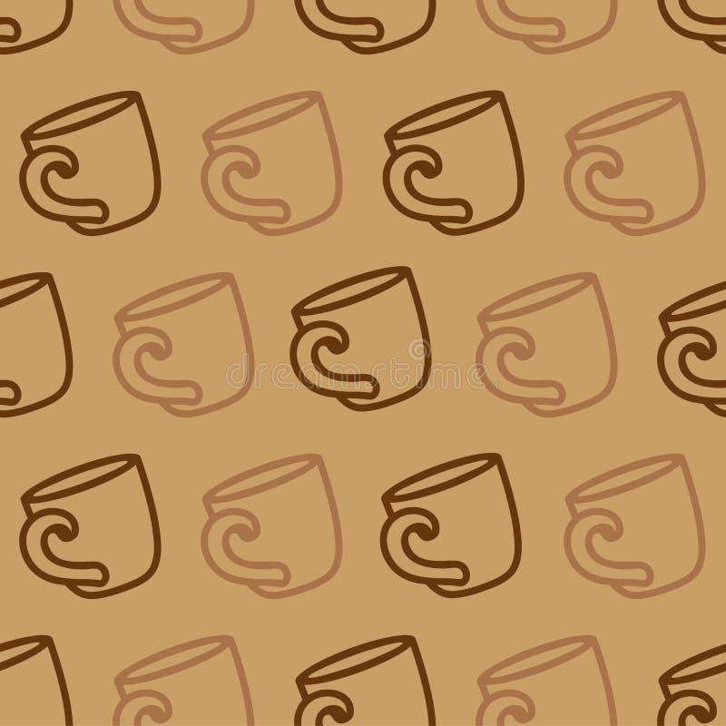 与咖啡杯的无缝的样式在棕色背景 饮用的咖啡或茶杯的例证 向量例证