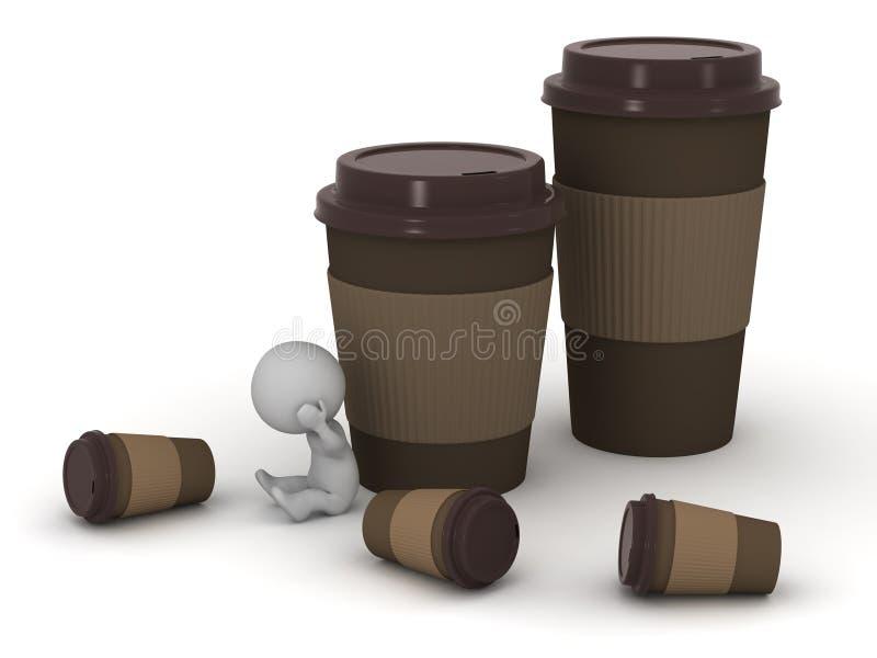 与咖啡杯的被注重的3D字符 皇族释放例证