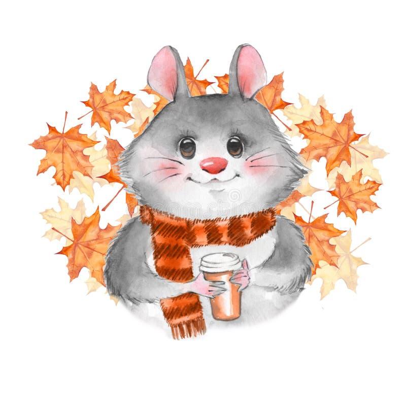 与咖啡杯的逗人喜爱的动画片mousel 向量例证