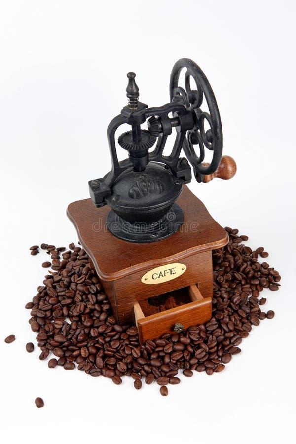 与咖啡框的咖啡研磨机 库存图片