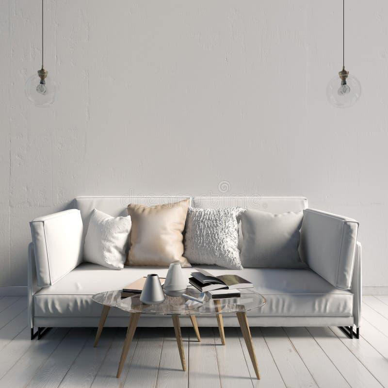 与咖啡桌和沙发的现代内部 墙壁嘲笑 3d不适 皇族释放例证