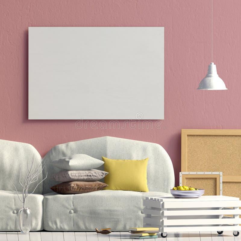 与咖啡桌和沙发的现代内部 海报嘲笑 3D我 库存例证