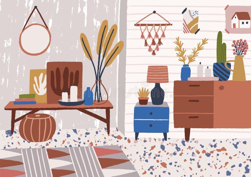与咖啡桌,餐具柜,生长在罐,灯,家庭装饰的植物的时髦的客厅内部 轻松和 皇族释放例证