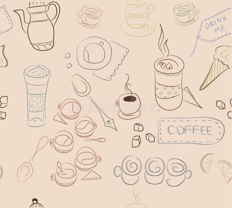 与咖啡的元素,咖啡盘,蛋糕的无缝的样式, 库存照片