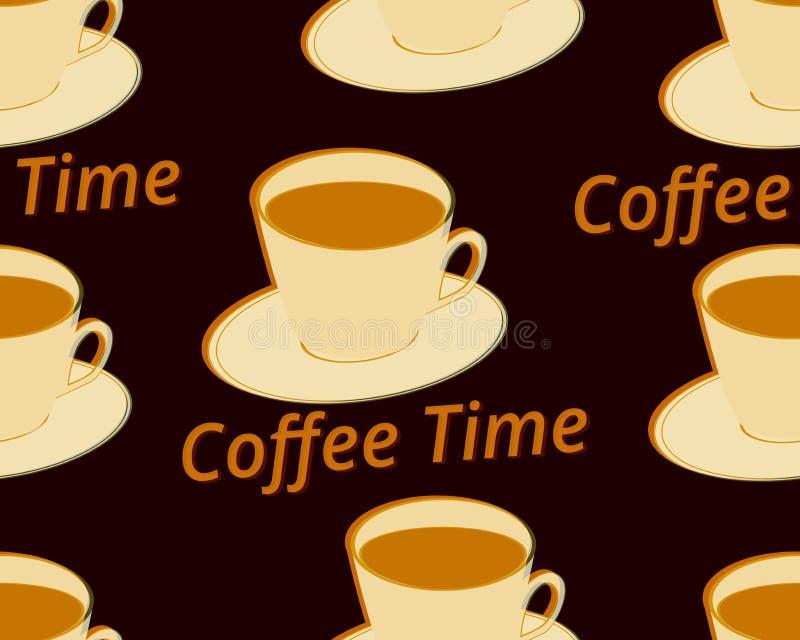 与咖啡的无缝的样式在茶碟的 咖啡更多时间 向量 皇族释放例证