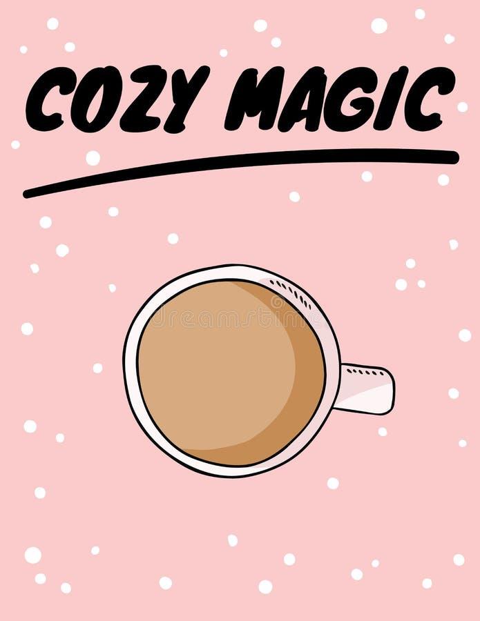 与咖啡的舒适不可思议的海报或茶与奶油 o 皇族释放例证