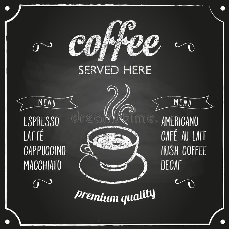 与咖啡菜单的减速火箭的标志 库存例证