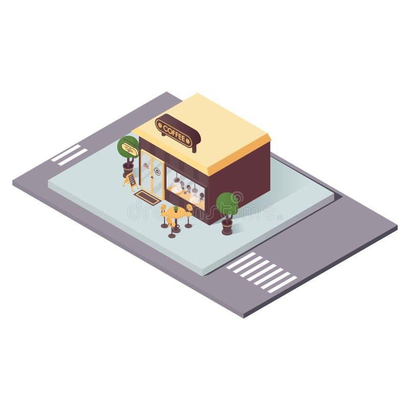 与咖啡馆或咖啡馆商店的传染媒介概念等量场面 城市与桌和椅子,与杯子的陈列室,绿叶的天场面 向量例证