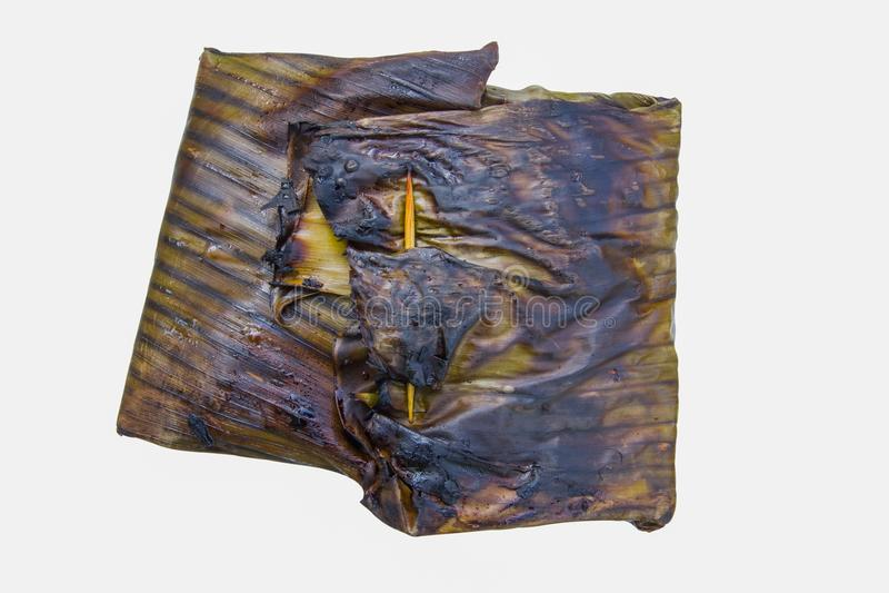 与咖喱酱的被蒸的鱼在香蕉叶子套 免版税图库摄影