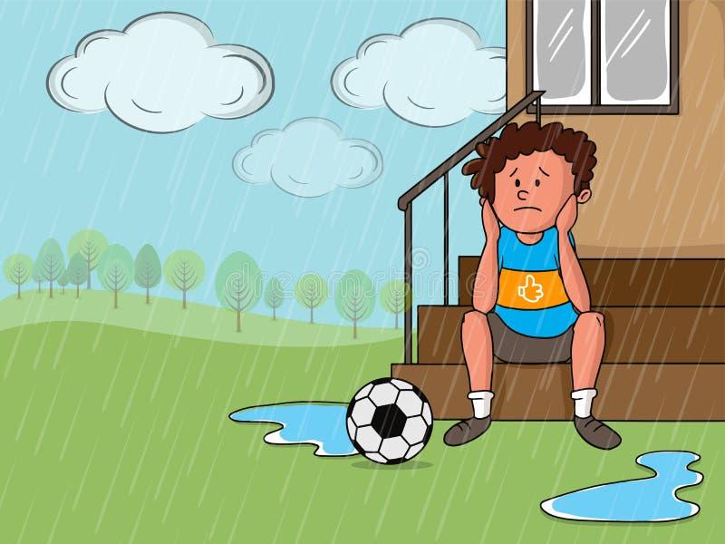 与哀伤的男孩的雨天概念 向量例证