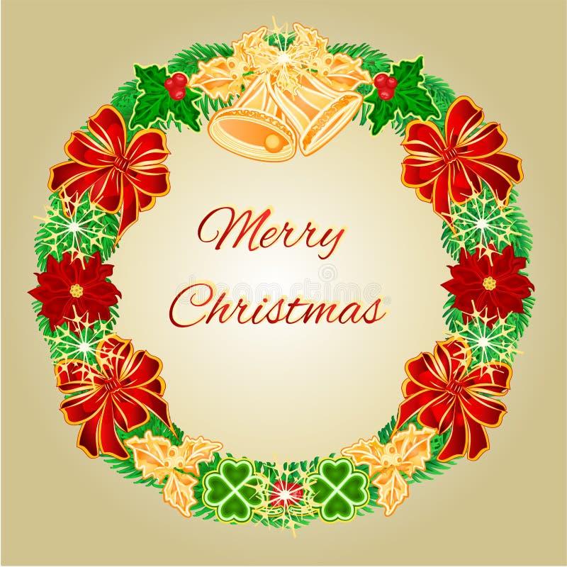 与响铃传染媒介的圣诞快乐花圈 库存例证