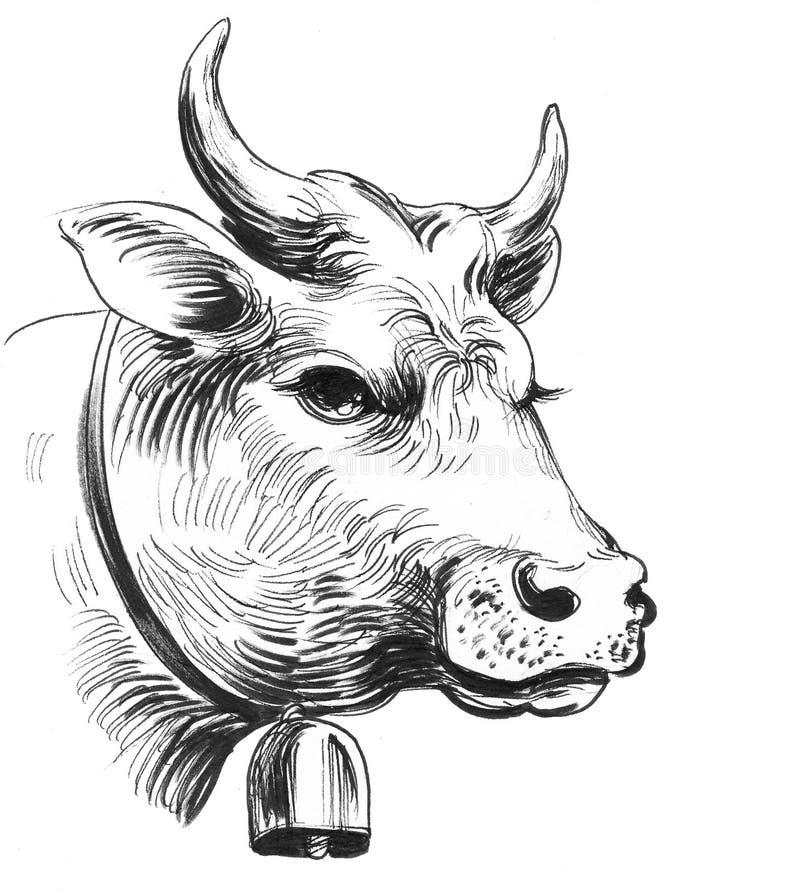 与响铃的母牛 向量例证