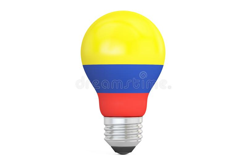 与哥伦比亚旗子, 3D的电灯泡翻译 皇族释放例证