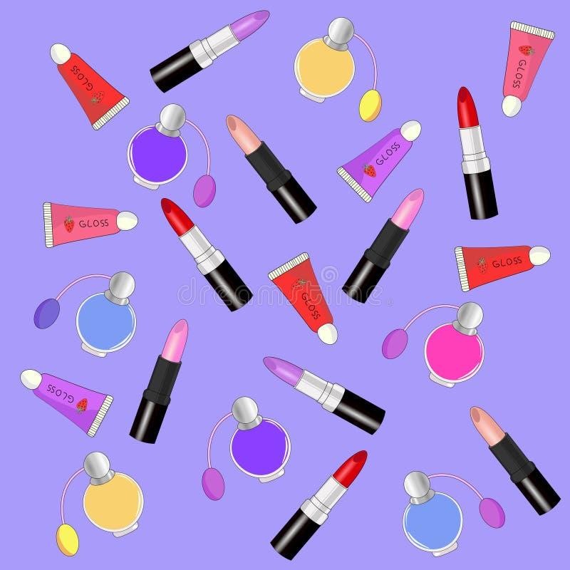 与唇膏,香水,唇彩的样式 传染媒介样式, 向量例证