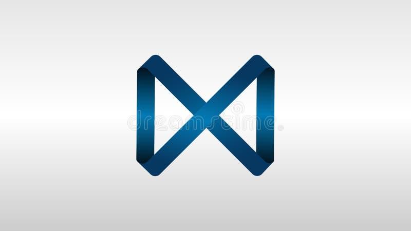 与唯一丝带的古典蓝色商标设计 免版税库存图片