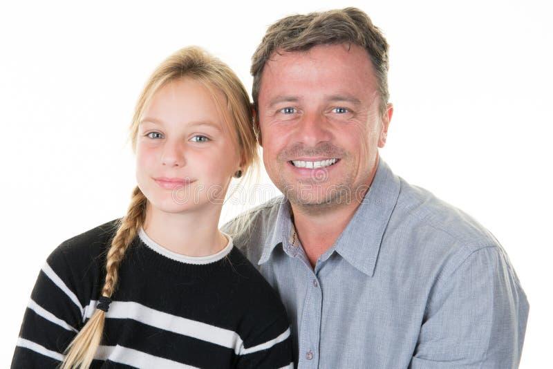 与唯一父亲和相当白肤金发的女儿的家庭 免版税图库摄影