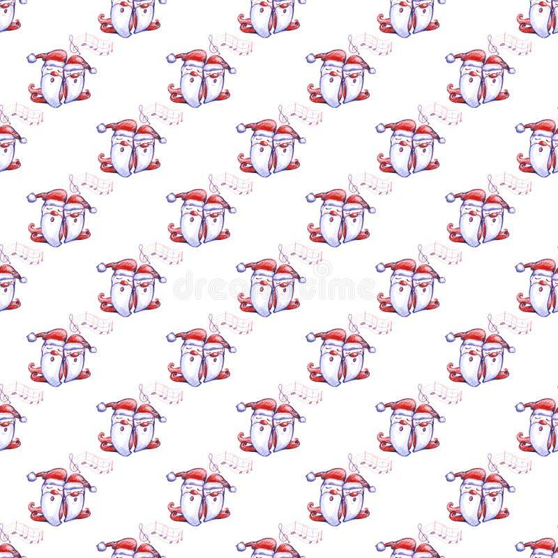 与唱歌的圣诞颂歌矮人的水彩手拉的圣诞节无缝的样式白色的 向量例证