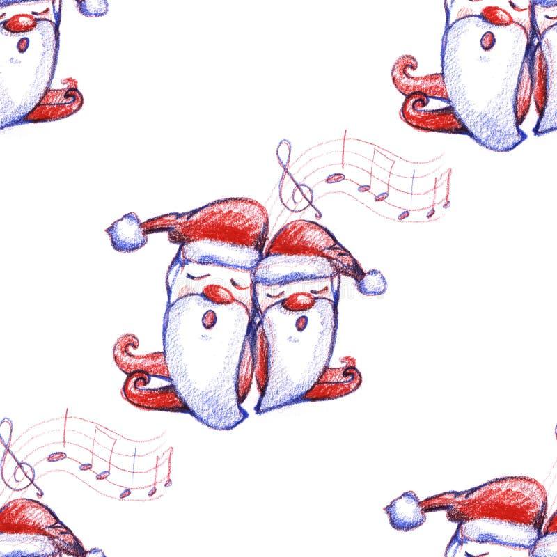 与唱歌的圣诞颂歌矮人的水彩手拉的圣诞节无缝的样式白色背景的 库存例证