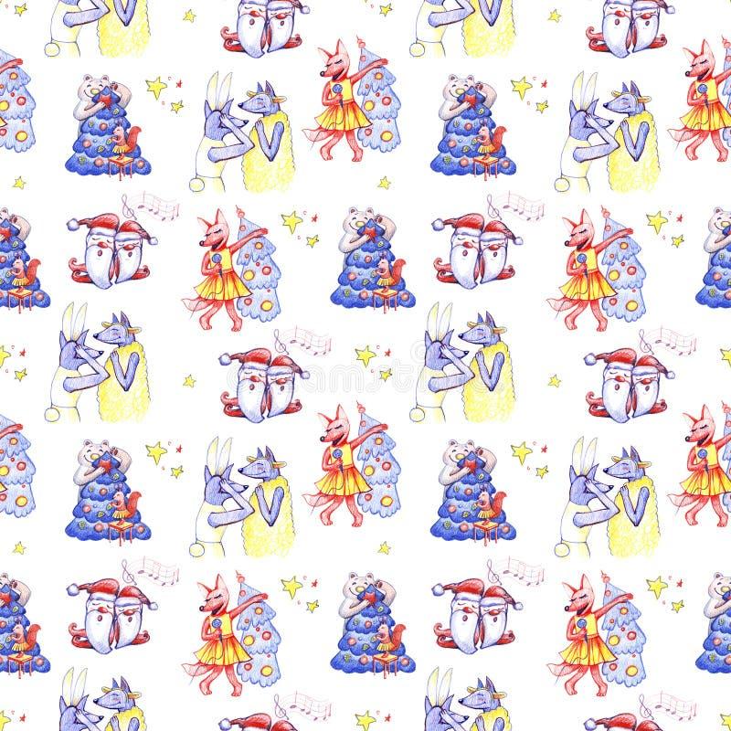 与唱歌的圣诞颂歌矮人的水彩手拉的圣诞节无缝的样式白色背景的 向量例证