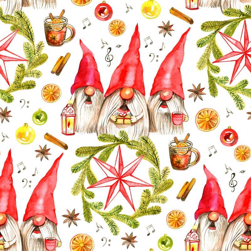 与唱歌的圣诞颂歌矮人的水彩手拉的圣诞节无缝的样式白色背景的 皇族释放例证
