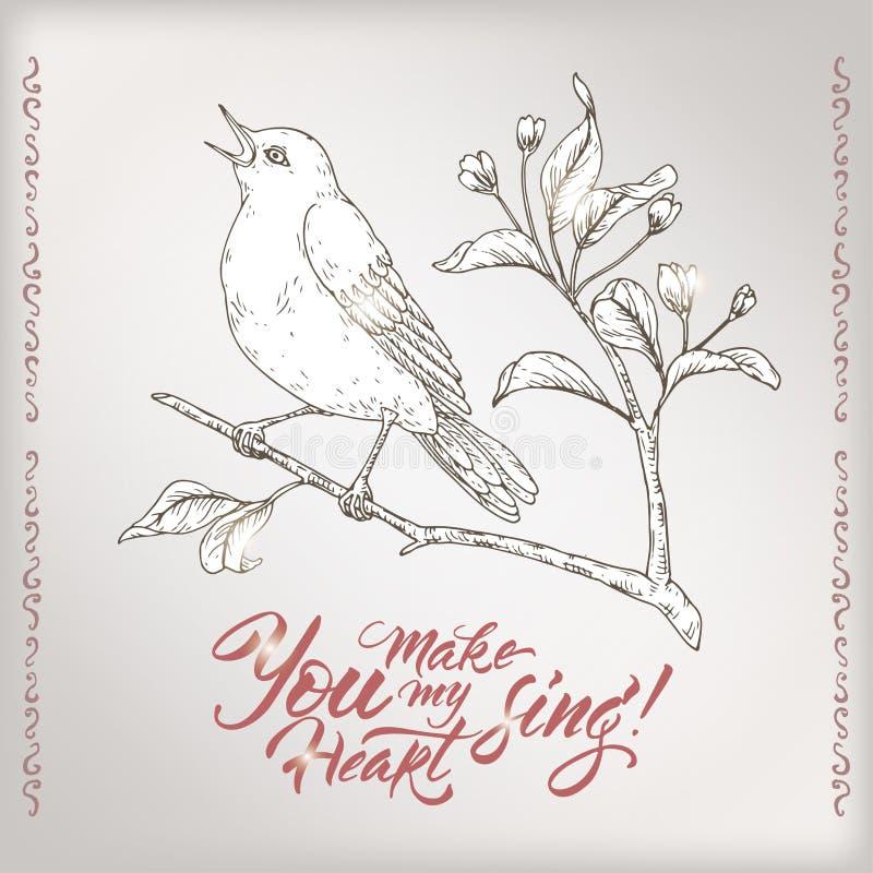 与唱歌鸟的华伦泰浪漫卡片和saing您的刷子字法做我的心脏唱歌 皇族释放例证