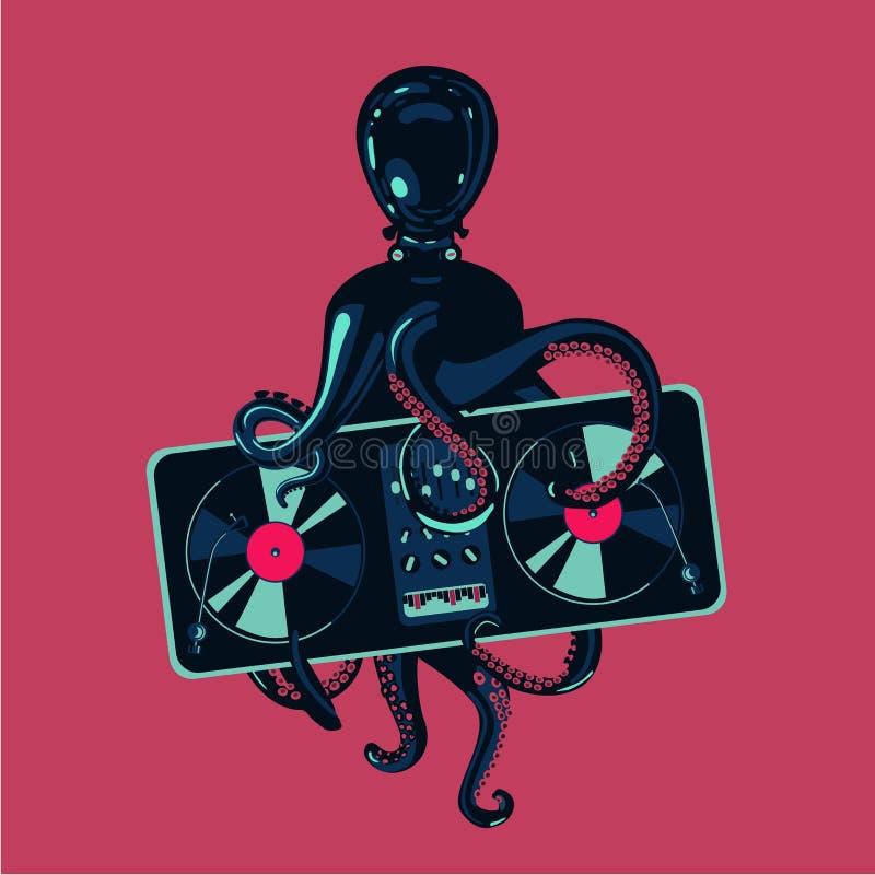 与唱片转盘的章鱼触手 节律唱诵的音乐党海报模板 电子音乐节日 向量例证