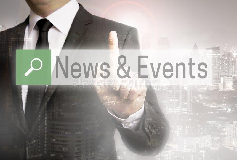 与商人城市概念的新闻和事件浏览器 免版税库存照片