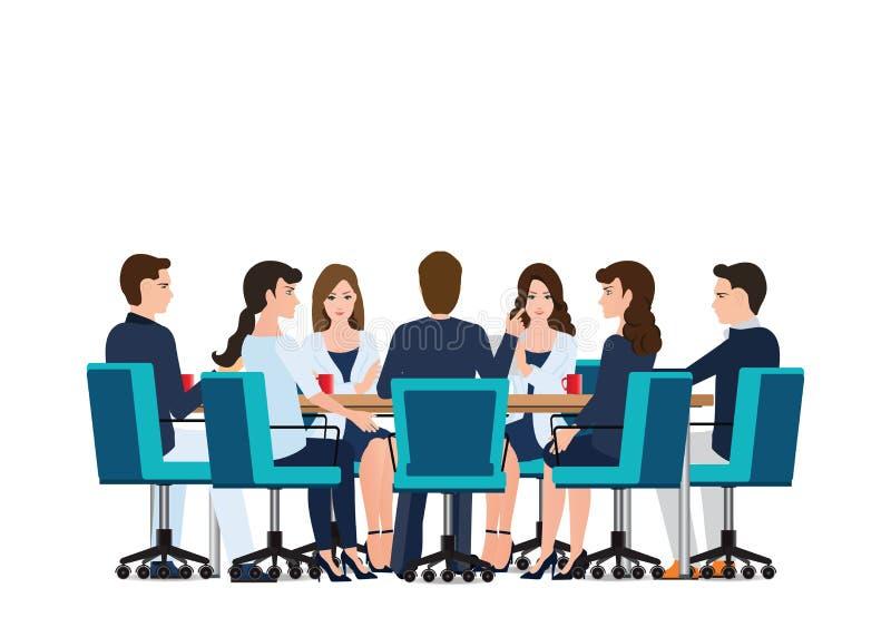 与商人的业务会议谈论在桌附近 库存例证