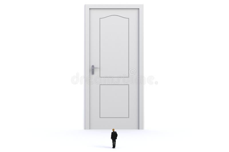 与商人的成功概念,站立在白色墙壁背景的白色门前面的微型商人的图象 库存例证